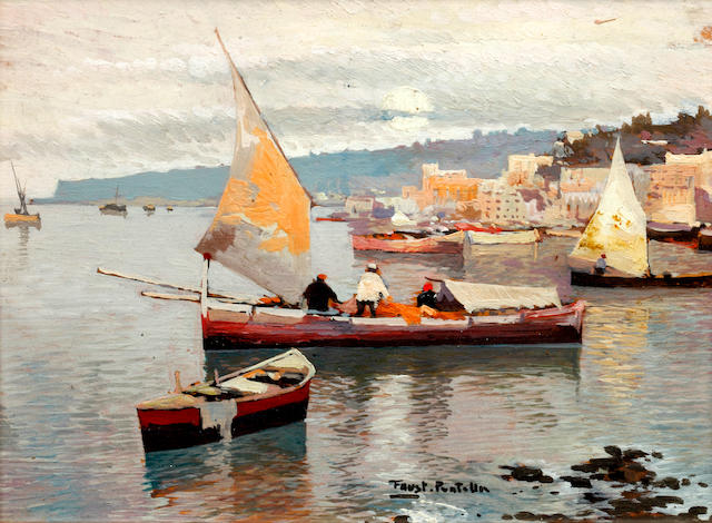 Fausto Pratella (Italian, 1888-1964) Fishing vessels in a harbour