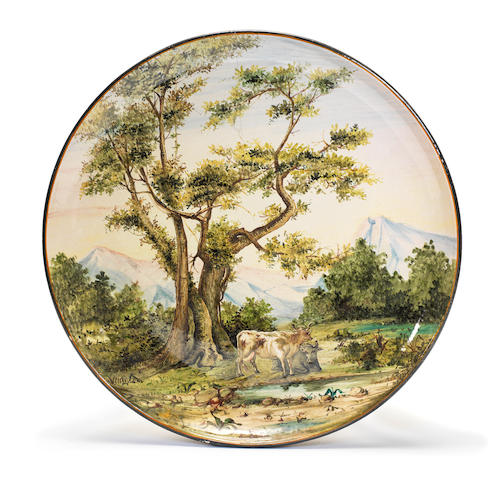A large Italian majolica circular charger, workshop of Jafet Torelli, last quarter 19th century