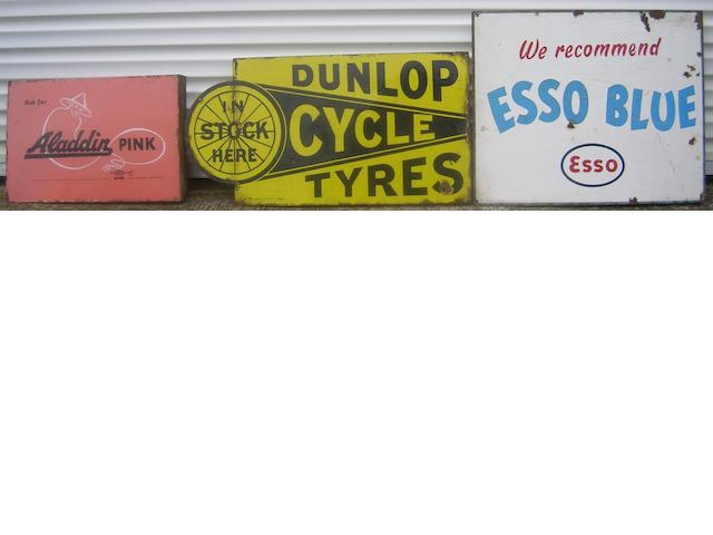Three enamel advertising signs,