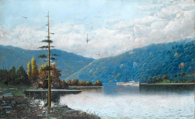 Antonio Nicolo Gasparo  Jacobsen (American, 1850-1921) A paddlesteamer on the Hudson??????