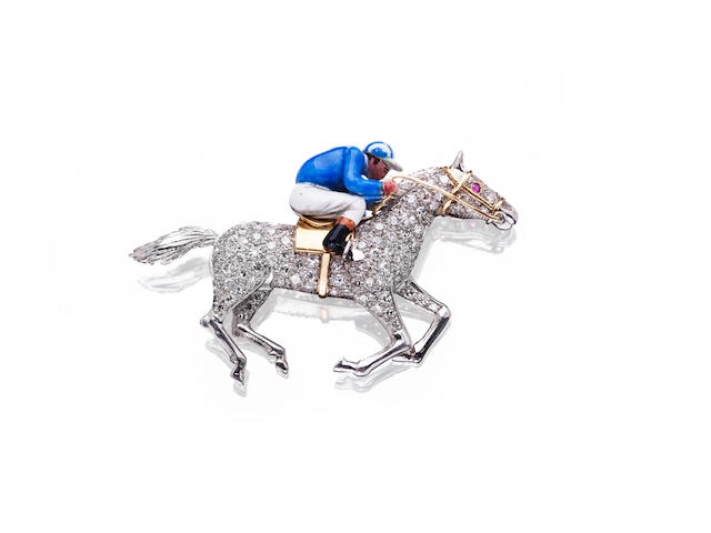 A diamond-set jockey brooch