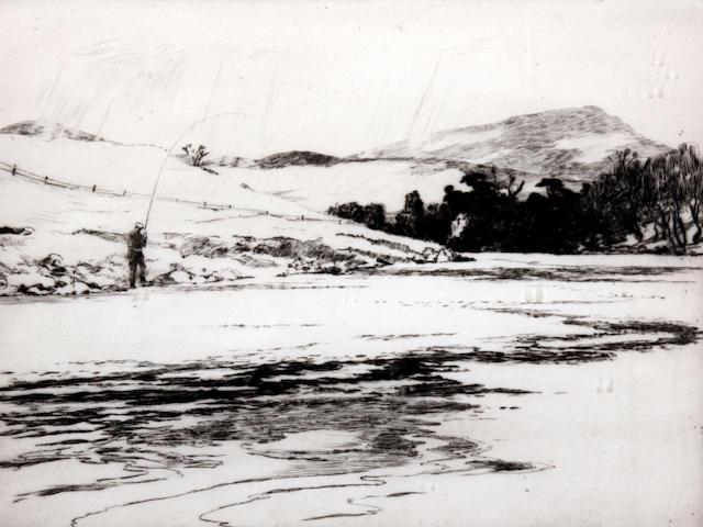 Norman Wilkinson (British, 1878-1971) Fisherman at the river bank