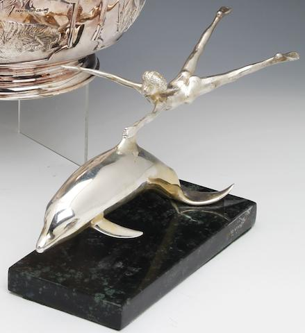 "David Wynne; A limited edition sculpture entitled ""Boy with Dolphin"" by Mappin & Webb, London circa 1975"