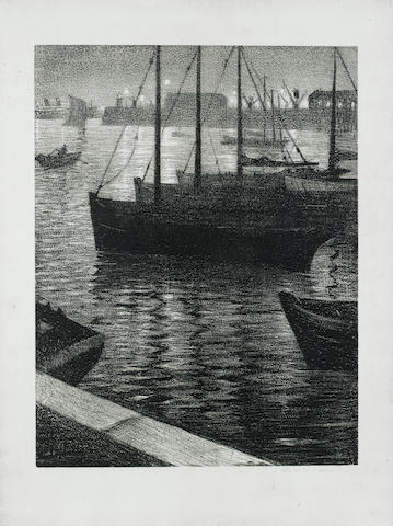 Christopher Richard Wynne Nevinson (British, 1889-1946) Le port (Leicester Galleries 62) Lithograph, 1919, on laid, signed in pencil, from th edition of 25, 655 x 500mm (25 3/4 x 19 5/8in) (SH)