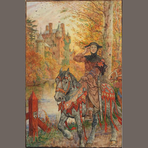 "ORIGINAL ARTWORK FORD (HENRY JUSTICE, 1860-1941) A knight on a horse passing through an autumnal landscape [perhaps related to Henry Newbolt's ""Happy Warrior""]; and 2 others (3)"