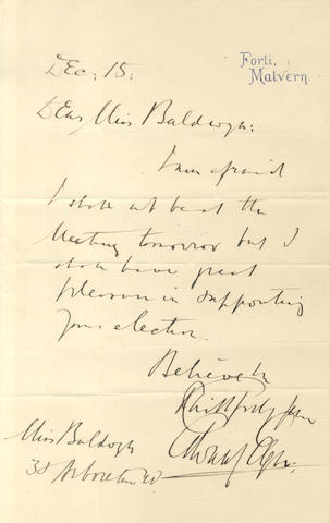 ELGAR (EDWARD) Series of nearly twenty autograph, dictated and typed letters signed, to members of the Baldwyn family, music sellers of Worcester, 1889-1933
