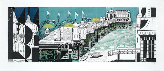 Edward Bawden R.A. (British, 1903-1989) Brighton Pier Linocut, 1958, printed in colours, on wove, signed, titled, dated and numbered in pencil, 555 x 1455mm (21 3/4 x 57in)(SH)