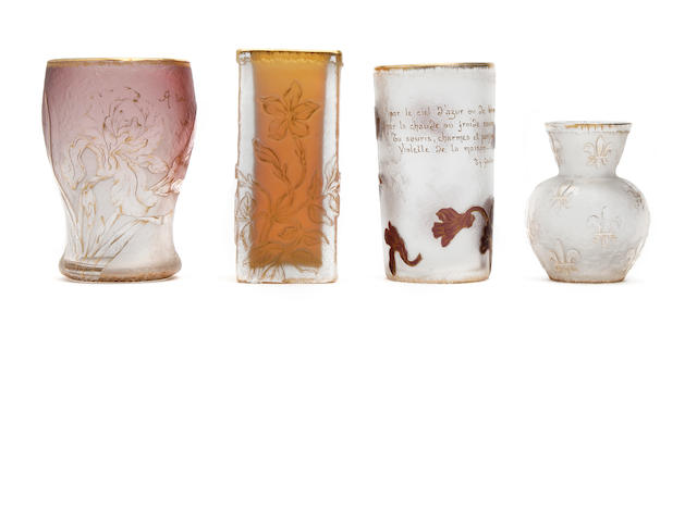 A collection of four Daum cameo glass vases Early to mid 20th Century