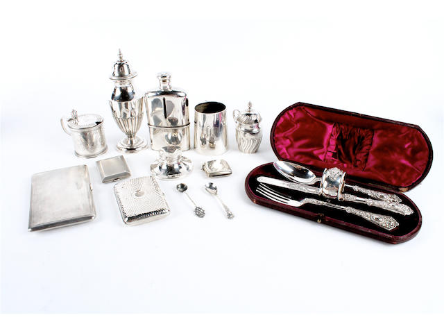 A Victorian composite silver four piece christening set The fork and spoon by Martin, Hall & Co, London, 1882, the knife and napkin ring by the same maker, Sheffield, 1881-82,  (13)