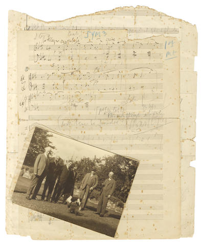 ELGAR (EDWARD) Collection of autograph music, inscribed scores and other mementos of his relationship with Vera Hockman, including the two first sketch-leaves for his unfinished Third Symphony, inscribed for her