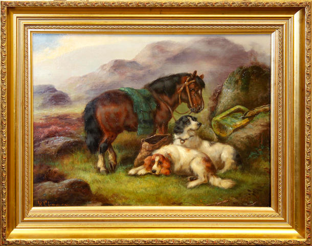 Robert Cleminson (British, active 1865-1868) a pair, Gun dogs and pony with the days bag