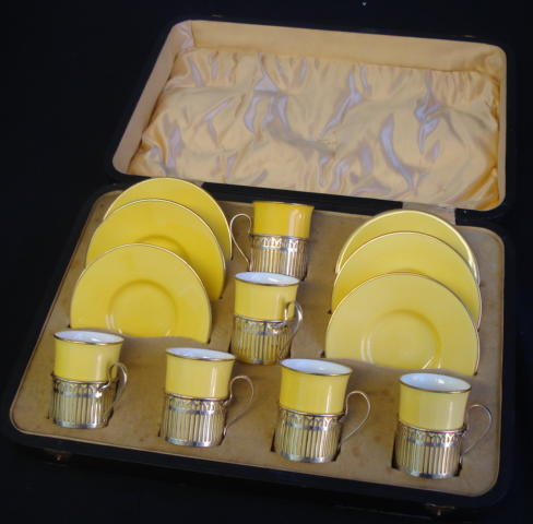 A Wedgwood coffee service with silver mounts by Walker and Hall