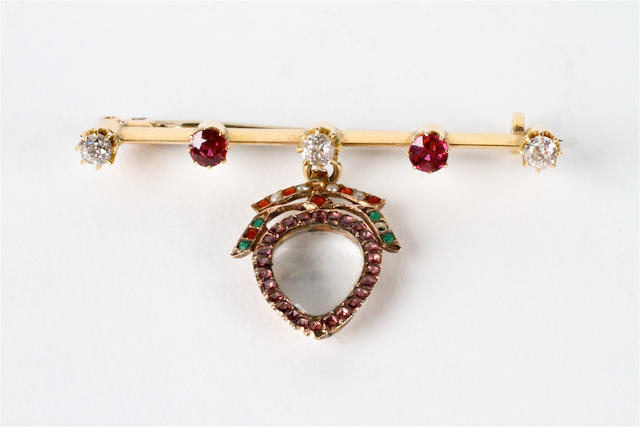 A late 18th century gemset heart shaped pendant