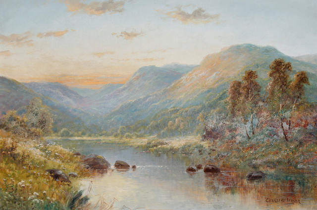 Charles Leader (British, late 19th/early 20th Century) Highland river scene