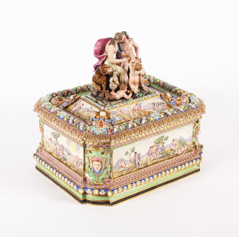 An Italian porcelain casket and cover, late 19th century