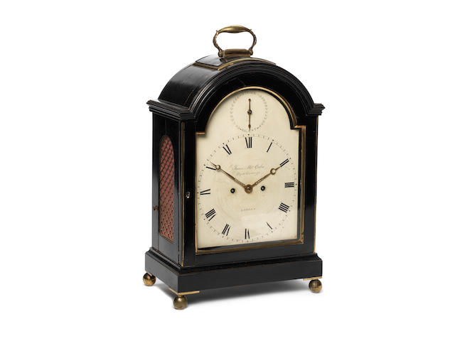 James Mcabe, Royal Exchange, an eight day striking bracket clock with painted arch dial in an ebonised case, 45cm