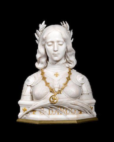 Aristide Petrilli, Italian (1868-after 1900) A Carrara marble and parcel gilt bust of Joan of Arc