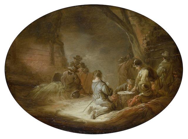 Benjamin Gerritsz. Cuyp (Dordrecht 1612-1652) Soldier playing cards in a barn