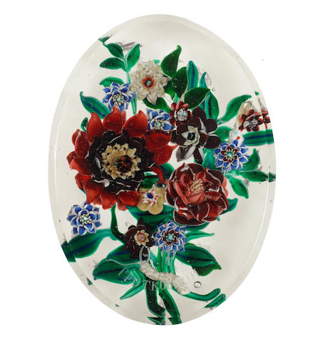 A rare Russian engraved paperweight plaque with floral bouquet, circa 1870-80