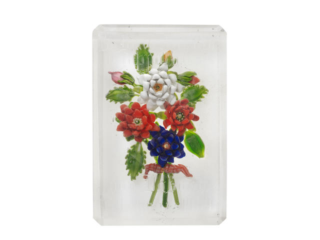 A Russian engraved floral bouquet paperweight plaque, circa 1870-80