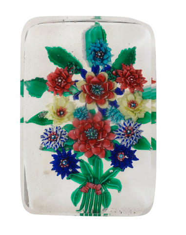 A rare Russian floral bouquet paperweight plaque, circa 1870-80