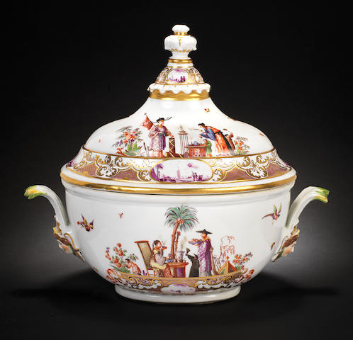 A very rare Meissen tureen and cover