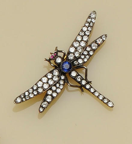 A diamond and sapphire dragonfly brooch