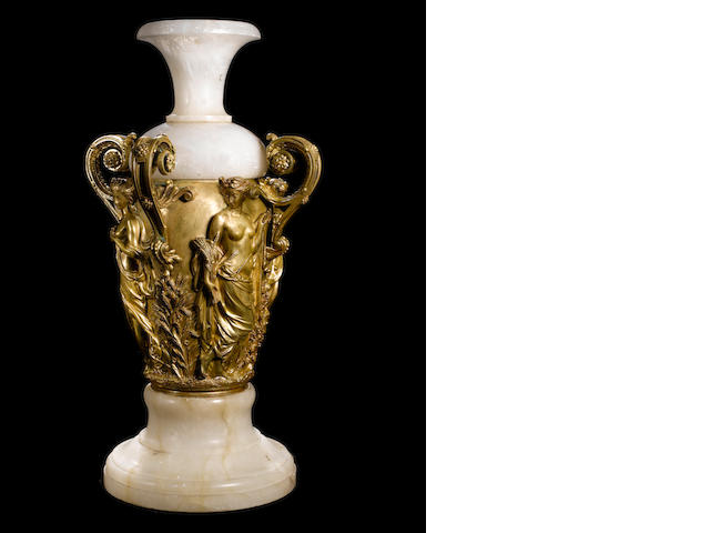 "A gilt-bronze and onyx ""vase aux quatre saisons"