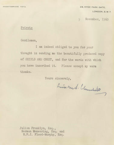 CHURCHILL (WINSTON) Typed letter signed