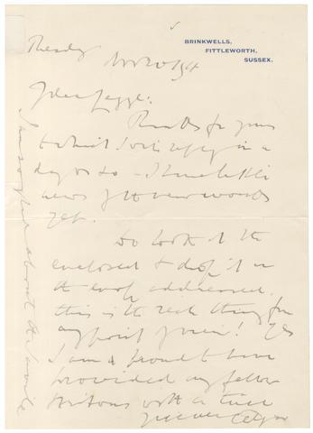 ELGAR (EDWARD) Autograph letter signed, 1918
