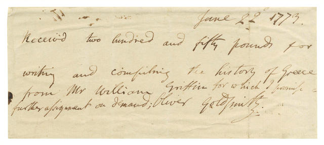 "GOLDSMITH (OLIVER) Autograph receipt signed (""Oliver Goldsmith""), EXTREMELY RARE MANUSCRIPT, 1773"