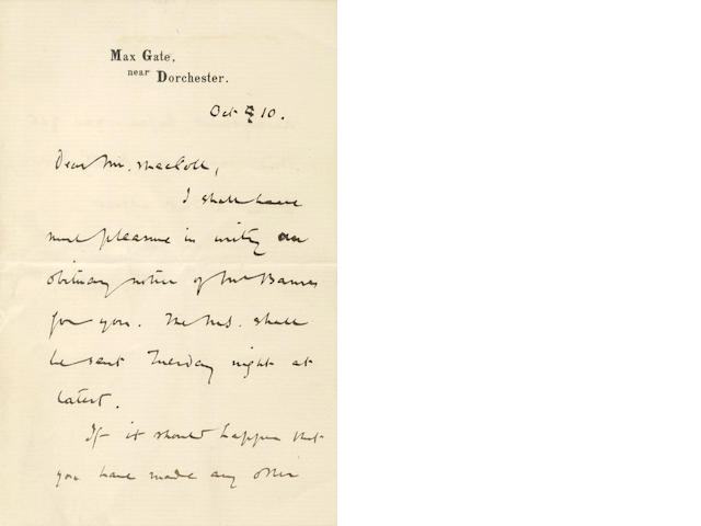HARDY (THOMAS) Autograph letter signed, agreeing to write an obituary notice of William Barnes, 1886