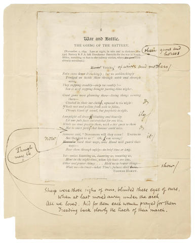 HARDY (THOMAS) Autograph reworked proof of his poem 'The Going of the Battery', 1899