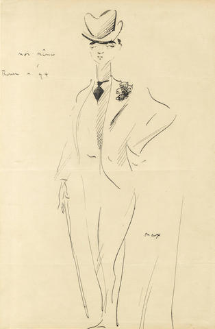 "BEERBOHM (MAX) Autograph self-caricature signed (""Max"") and inscribed (""Moi-même – Rouen 94""), 1894; with an autograph letter signed (2)"