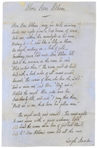 HUNT (LEIGH) Autograph manuscript of his poem 'Abou Ben Adhem', 1855