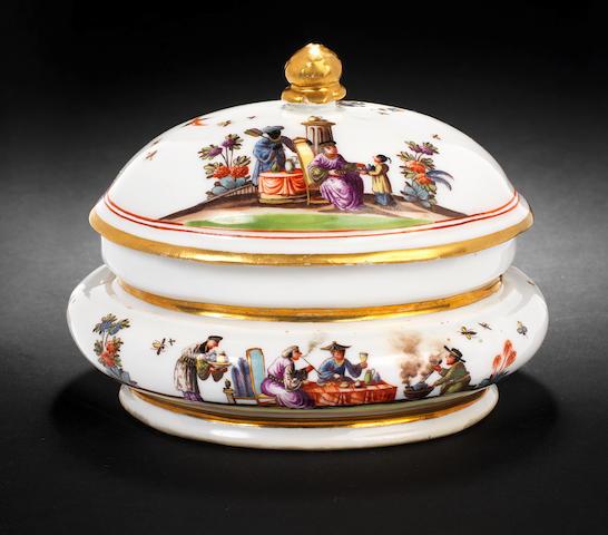 A Meissen oval sugar box and cover, circa 1735
