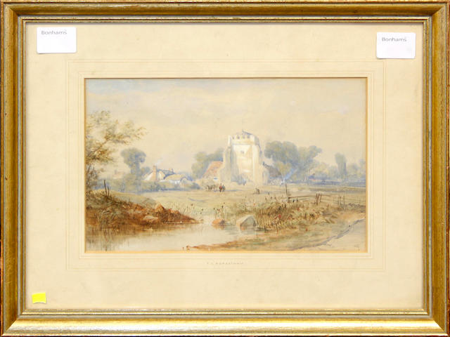 Thomas Leeson C. Rowbotham (British, 1823-1875) A Norman church, 17 x 27 1/2 cm (6 1/4 x 10 3/4 in)