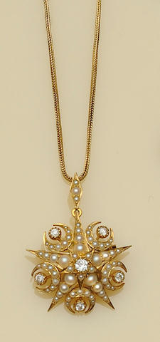 A late Victorian half pearl and diamond star brooch/pendant