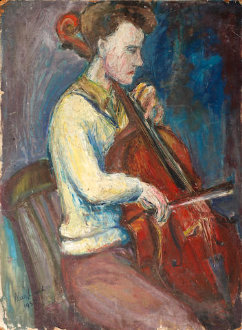Alan Lowndes (British, 1921-1978) Portrait of a man playing a cello (unframed)