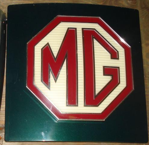 An illuminating MG showroom sign