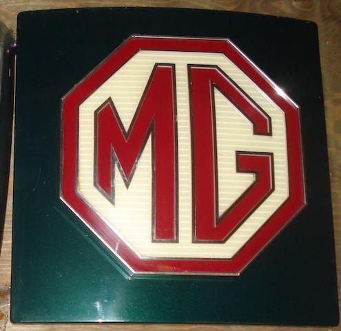 An illuminating MG showroom sign