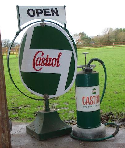 A Castrol spinning sign, 1970s,