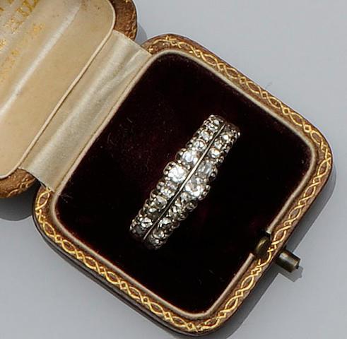 A 19th century diamond half hoop ring