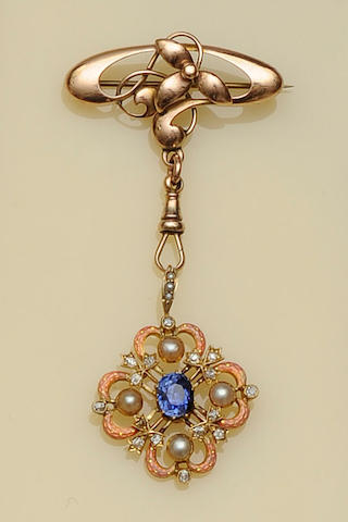 An Edwardian enamel and gem set pendant
