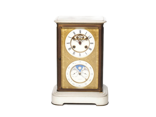 A late 19th century French four glass clock with an annual calendar J.B.Dellatrez
