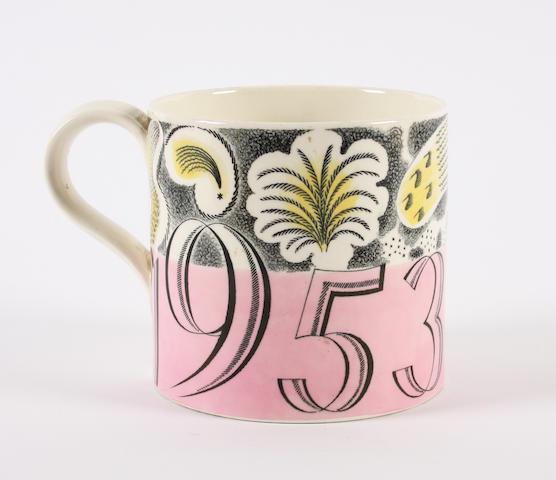 A Wedgwood mug designed by Eric Ravilious