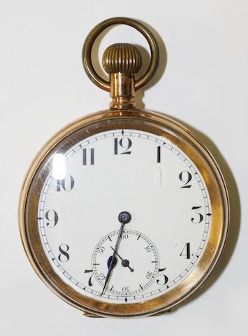 An open faced plated pocket watch,