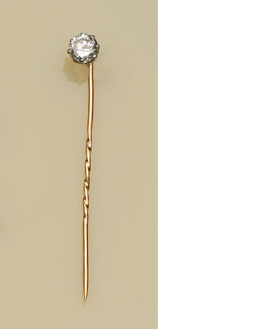 A single stone diamond stickpin