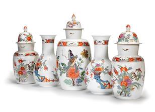 "The Brühl ""Garniture de Cheminée"": a highly important garniture of five Meissen Augustus Rex vases, circa 1730"