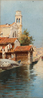 Alberto Prosdocimi (Italian, 1852-1925) Gondola Yard at San Trovaso, and another Venetian scene, a pair,